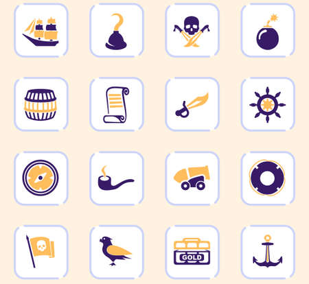 Pirates icon set for web sites and user interface Illustration