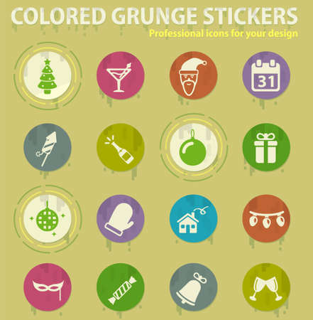 New year colored grunge icons with sweats glue for design web and mobile applications Ilustrace