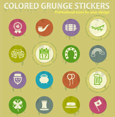 St Patricks colored grunge icons with sweats glue for design web and mobile applications Иллюстрация