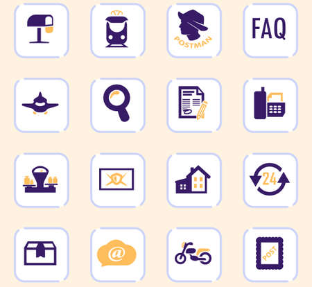 Post service icons set for web sites and user interface