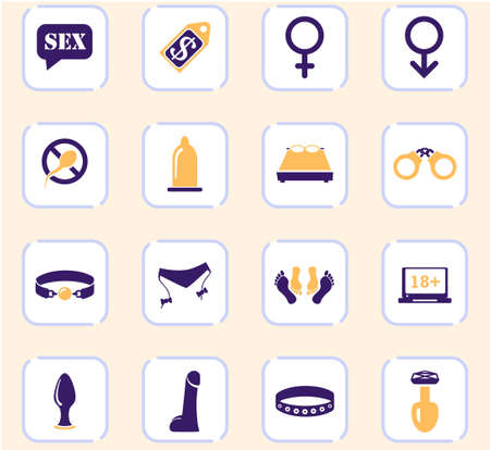Sex shop icon set for web sites and user interface