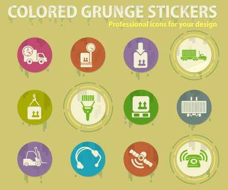 Logistics colored grunge icons with sweats glue for design web and mobile applications