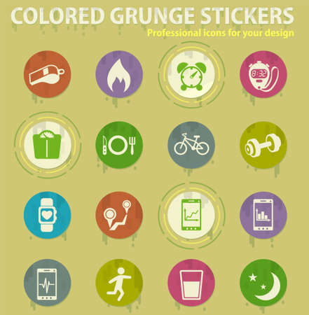 monitoring apps vector colored grunge icons with sweats glue for design web and mobile applications