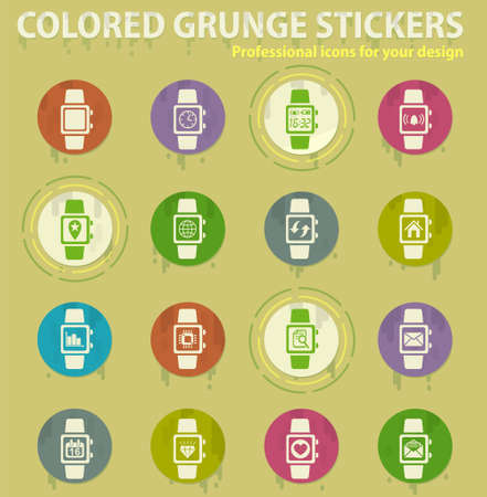 smart watch colored grunge icons with sweats glue for design web and mobile applications