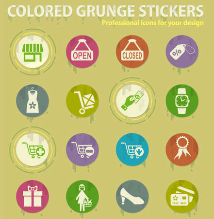 shopping and e-commerce colored grunge icons with sweats glue for design web and mobile applications