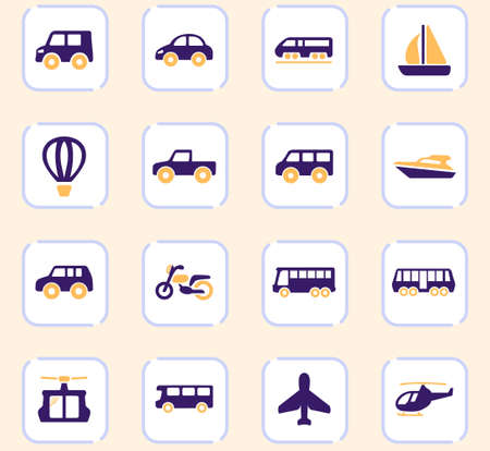 Public transport icon set for web sites and user interface