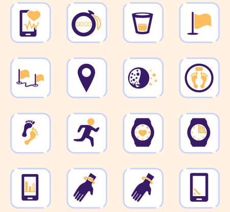 Joggin and workout color vector icons for user interface design
