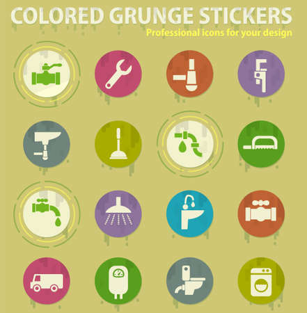 plumbing service colored grunge icons with sweats glue for design web and mobile applications
