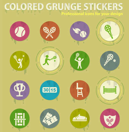 tennis colored grunge icons with sweats glue for design web and mobile applications