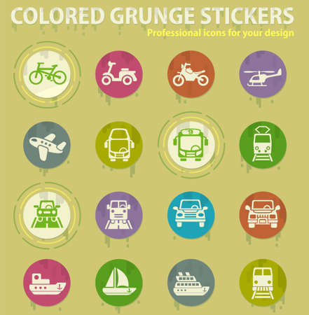 transport colored grunge icons with sweats glue for design web and mobile applications