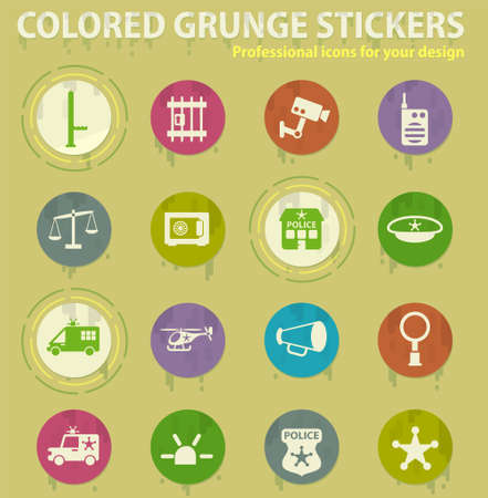 police department vector colored grunge icons with sweats glue for design web and mobile applications