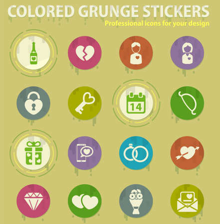 Valentines day colored grunge icons with sweats glue for design web and mobile applications