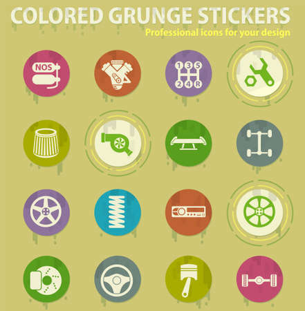 auto tuning vector colored grunge icons with sweats glue for design web and mobile applications Illustration