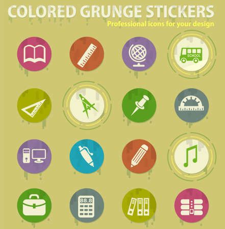 school colored grunge icons with sweats glue for design web and mobile applications