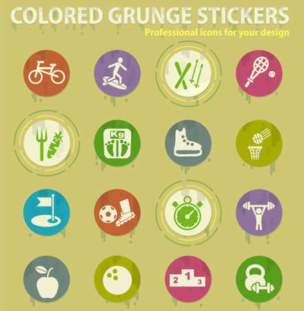 sport colored grunge icons with sweats glue for design web and mobile applications