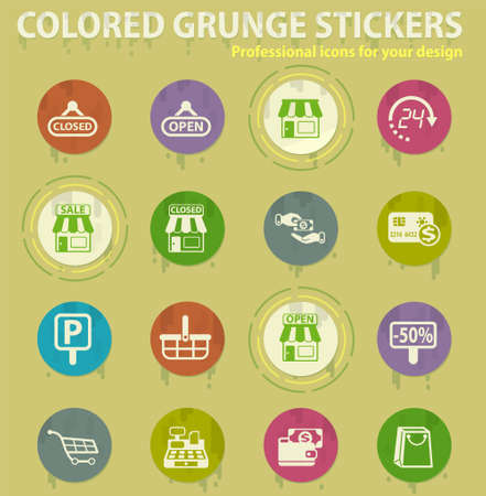 shop vector colored grunge icons with sweats glue for design web and mobile applications Stock Illustratie