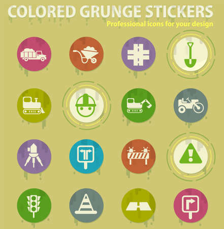 road repairs vector colored grunge icons with sweats glue for design web and mobile applications Illustration