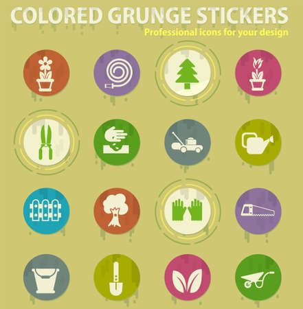 landscape design vector colored grunge icons with sweats glue for design web and mobile applications