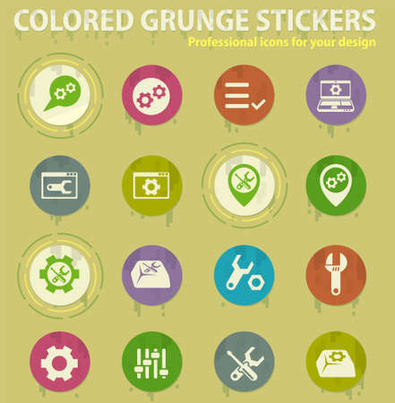 settings vector colored grunge icons with sweats glue for design web and mobile applications Çizim