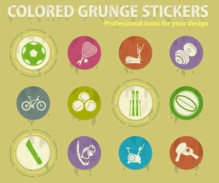 Sport equipment colored grunge icons with sweats glue for design web and mobile applications