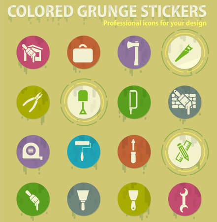 Work tools colored grunge icons with sweats glue for design web and mobile applications Çizim