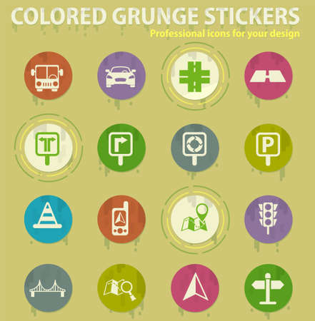 road vector colored grunge icons with sweats glue for design web and mobile applications 일러스트