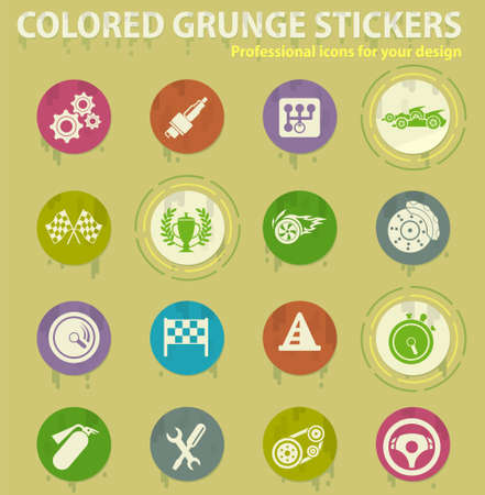 Racing colored grunge icons with sweats glue for design web and mobile applications