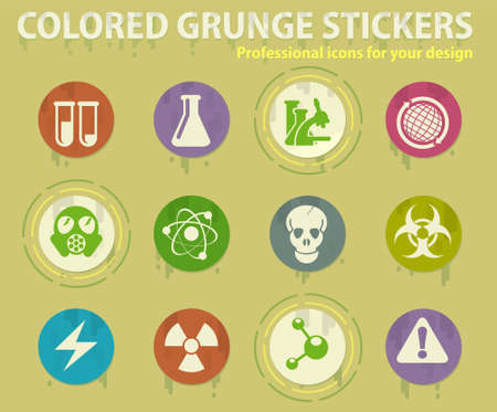 Science colored grunge icons with sweats glue for design web and mobile applications