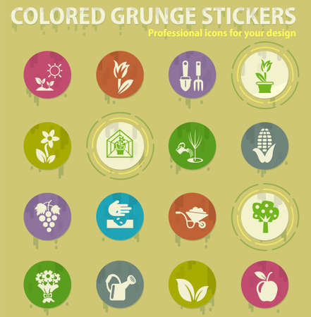 gardening tools colored grunge icons with sweats glue for design web and mobile applications