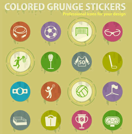sport vector colored grunge icons with sweats glue for design web and mobile applications