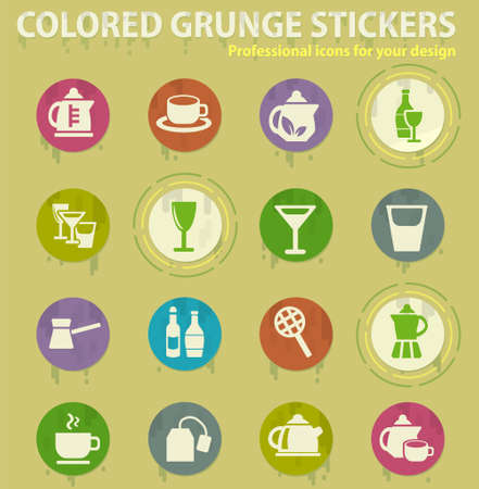 utensils for beverages colored grunge icons with sweats glue for design web and mobile applications