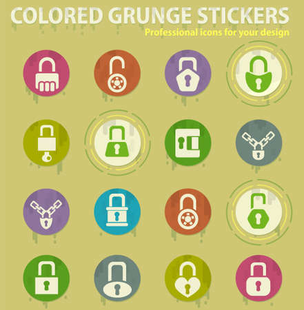 lock colored grunge icons with sweats glue for design web and mobile applications