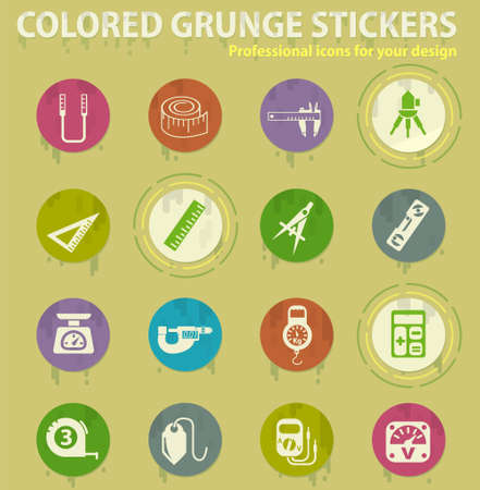 measuring tools colored grunge icons with sweats glue for design web and mobile applications