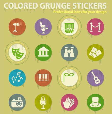 theater colored grunge icons with sweats glue for design web and mobile applications
