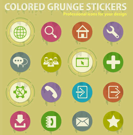 web tools colored grunge icons with sweats glue for design web and mobile applications