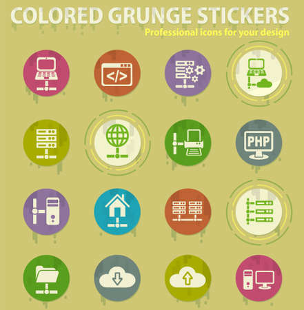 server colored grunge icons with sweats glue for design web and mobile applications