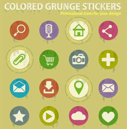 user interface colored grunge icons with sweats glue for design web and mobile applications