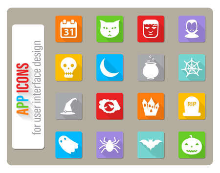 Halloween icons set in flat design with long shadow