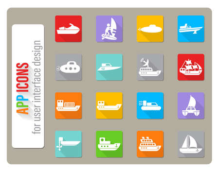 water transport icons set in flat design with long shadow