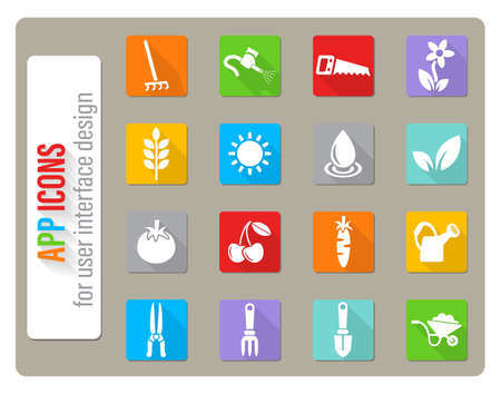 gardening icons set in flat design with long shadow Stock Illustratie
