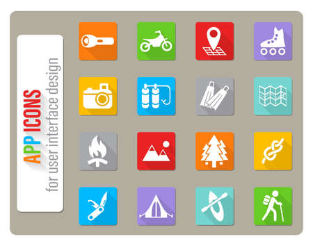 active recreation icons set in flat design with long shadow for user interface