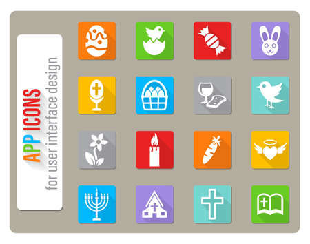 easter icons set in flat design with long shadow