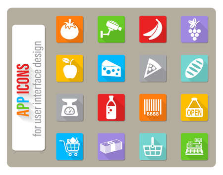 grocery store icons set in flat design with long shadow