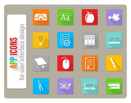 school icons set in flat design with long shadow