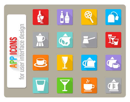 utensils for beverages icons set in flat design with long shadow Vettoriali