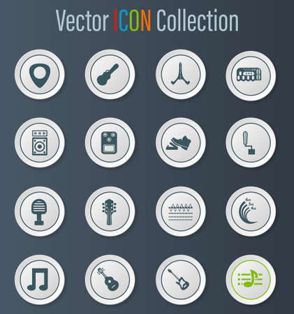 Guitar and accessories vector icons for user interface design Stock Photo