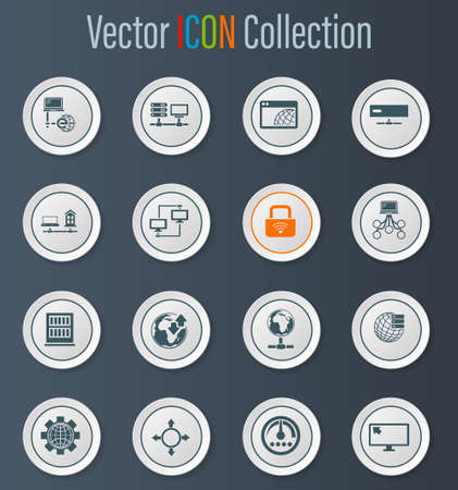 Internet, server, network icon set for web sites and user interface Stock Photo