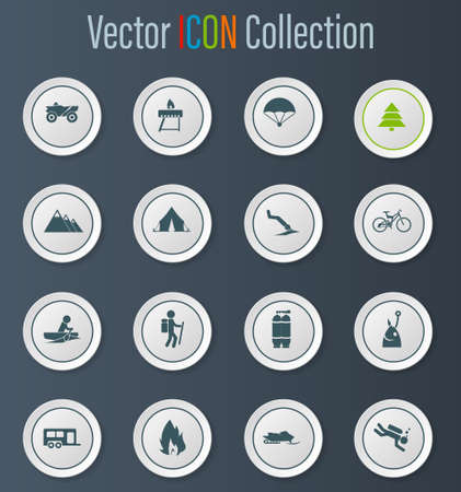Active recreation icon set for web sites and user interface Illustration