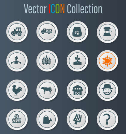 Agriculture and farming icon set for web sites and user interface Ilustração