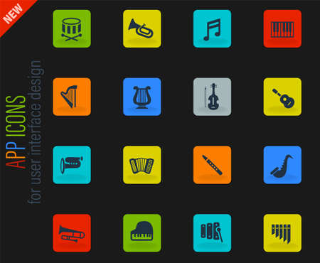 classic instruments vector color web icons on dark background for user interface design